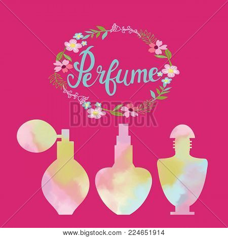 Spring flowers frame vector photo free trial bigstock spring flowers frame with text perfume and watercolor perfume bottles vector beauty background concept womans mightylinksfo