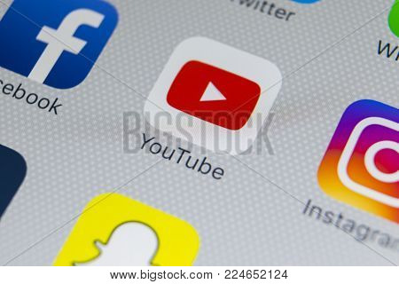Sankt-Petersburg, Russia, February 1, 2018: YouTube application icon on Apple iPhone 8 smartphone screen close-up. Youtube app icon. YouTube is an online video networking service.