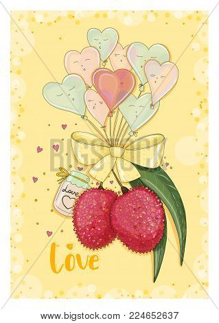 Postcard litchi in love with heart shape balloons. Hand drawn postcard from