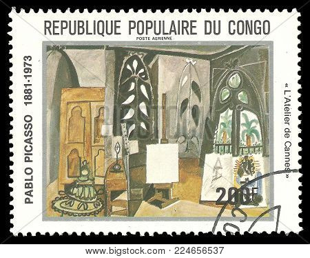 Congo - circa 1981: Stamp printed by Congo, Color edition on Art, shows Painting L'Atelier de Cannes by Pablo Picasso, circa 1981