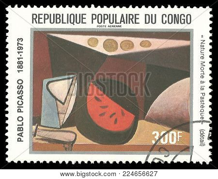 Congo - circa 1981: Stamp printed by Congo, Color edition on Art, shows Painting Still Life with Pasteque by Pablo Picasso, circa 1981