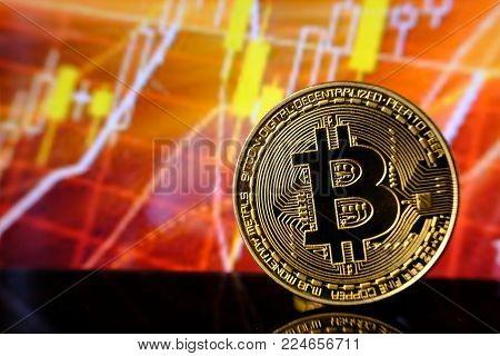 Bitcoins and New Virtual money concept.Gold bitcoins with Candle stick graph chart and digital background.