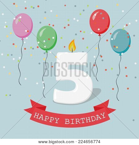 Happy Birthday anniversary greeting card with number Five, balloons, ribbons and confetti