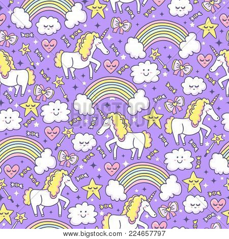 Sleep Dreams. Seamless pattern with magical unicorn, rainbow, clouds, stars, bow, candy and hearts. Violet background for funny design elements.