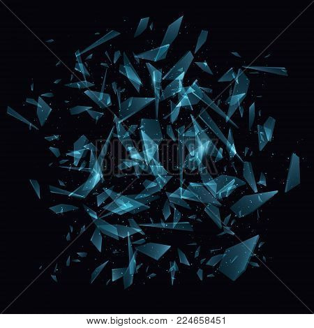 Shards of broken glass, Abstract explosion, Vector illustration EPS10