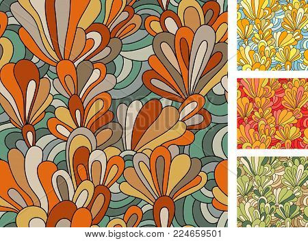 Sat With Eamless Pattern With Flowers. Hand Drawn Floral Texture. Yellow, Beige, Blue, Brown, Orange