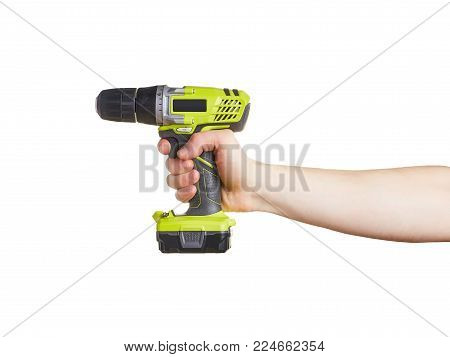 A Man's Hand Holds Drill Screwdriver