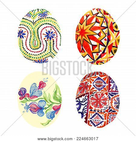 Easter eggs with traditional painting (Eastern European styles of painting, in particular Ukrainian motifs), isolated set hand painted watercolor illustration, design for card