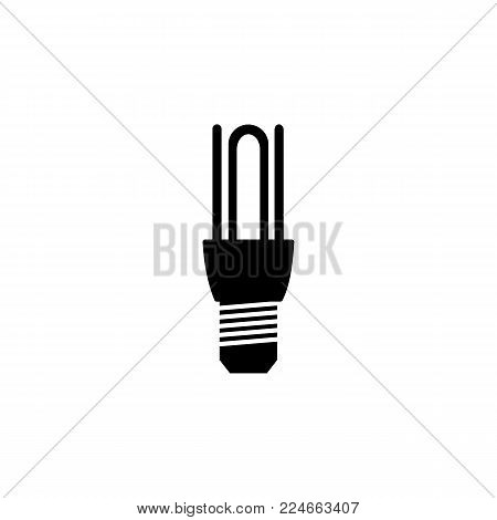 energy saving fluorescent light bulb icon on white background
