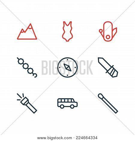 Vector illustration of 9 tourism icons line style. Editable set of landscape, stick, flashlight icon elements.