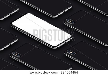 iPhone X style perspective view isometric smartphones pattern mockup. New frameless smartphone back side and front side mockup. Ready to use smartphone mockup poster for mobile app. 3D illustration.