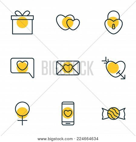 Vector illustration of 9 amour icons line style. Editable set of phone, soul, present and other icon elements.
