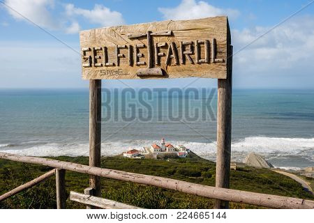 Figueira da Foz, Portugal - January 26, 2018: Cabo Mondego Lighthouse in the Forest Park of the Serra da Boa Viagem, Figueira da Foz, Portugal