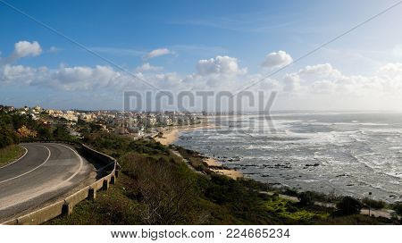 Figueira da Foz, Portugal - January 26, 2018: From the Cape Mondego Viewpoint we can see the sea and the city Figueira da Foz, Portugal