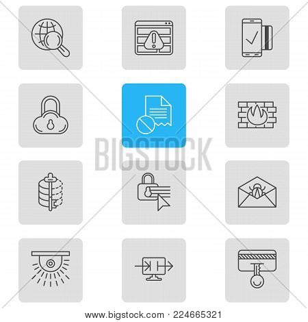 Vector illustration of 12 security icons line style. Editable set of mobile transaction, safe search, spam and other icon elements.