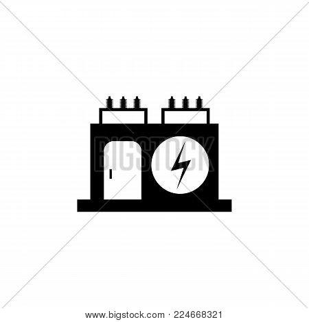 Electric power transformer icon - vector illustration.