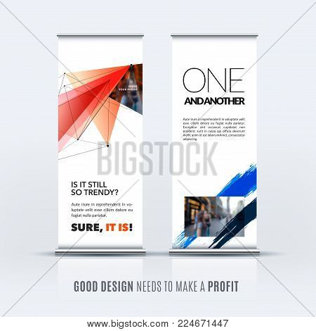 Abstract business vector set of modern roll up banner stand design template with red blue triangles, geometric shapes for event, market, exhibition, show, expo, presentation, parade.