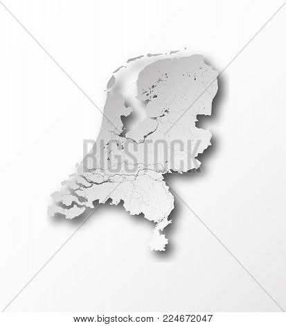 Map of Netherlands with paper cut effect. Rivers and lakes are shown.