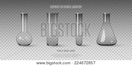 A set of flasks and test tubes isolated on a transparent background. Equipment for chemical laboratory. Transparent glass test tubes. Vector illustration