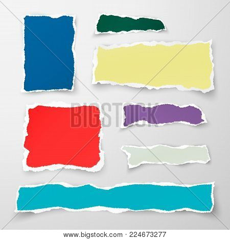Set of color torn paper pieses. Scrap paper. Vector illustration isolated on white background