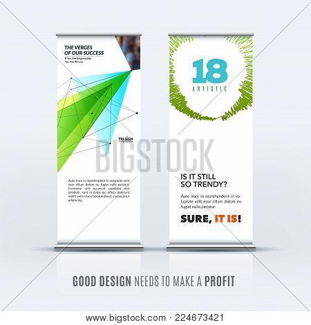 Abstract business vector set of modern roll up banner stand design template with green ecotriangles, geometric shapes for event, market, exhibition, show, expo, presentation, parade.