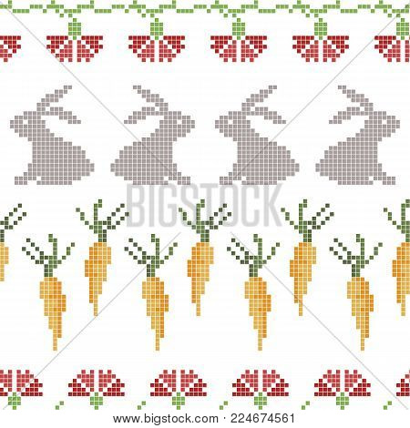 Seamless cross stitches Easter pattern on white background