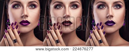 Beautiful woman with perfect make-up and manicure wearing jewellery on black background. Three variants of stylish looks