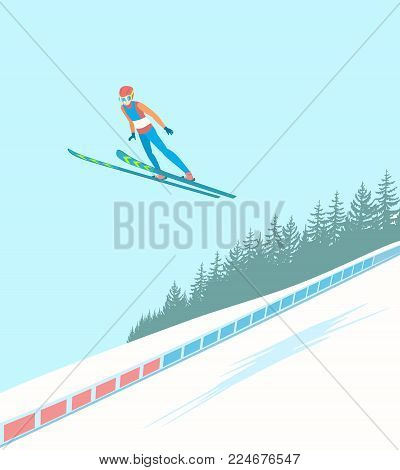 Ski jumping competitions. Jumper in mid air with extreme speed. The background of the forest and slope. Vector illustration EPS-8.