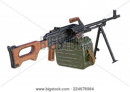 Gun machine black military with magazine. 3D rendering