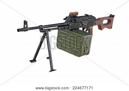Military weapon automatic with bipod. 3D rendering