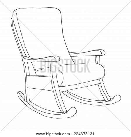 Rocking chair isolated on white background. Sketch a comfortable chair. Vector illustration