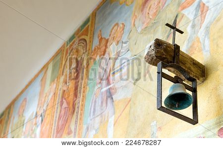 Galatina, Italy - August 29, 2006:  Detail of a bell of the frescoed cloister of the Caterina Convent adjacent to the Basilita of Santa Caterina D'Alessandria