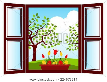 vector tulips and easter eggs in planter in the window and trees outside the window
