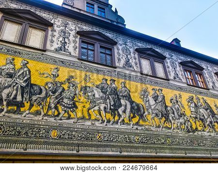 Dresden, Germany - December 31, 2017: Dresden, Germany. Georgentor and the Procession of Princes the first of the city's many Renaissance buildings, Dresden, Germany on December 31, 2017