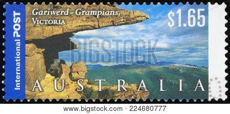 AUSTRALIA - CIRCA 2002: A Stamp printed in AUSTRALIA shows the Gariwerd (Grampians), Victoria, Views of Australia, series, circa 2002