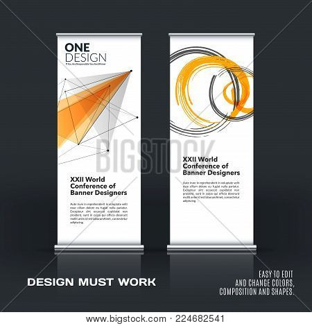 Abstract business vector set of modern roll up banner stand design template with yellow triangles, geometric shapes for event, market, exhibition, show, expo, presentation, parade.