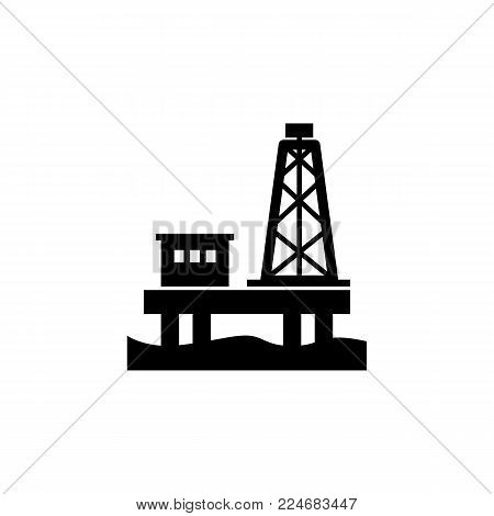 Oil rig platform icon on white background