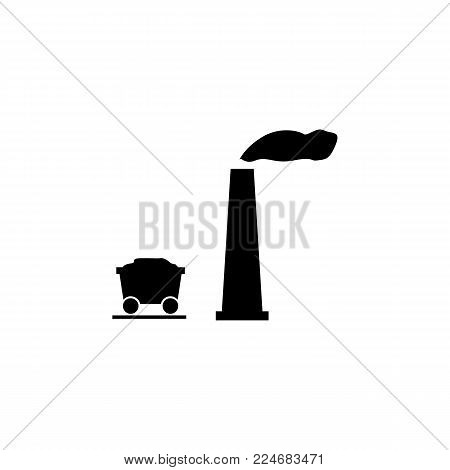Mining concept with heavy industry machines and coal truck icon on white background