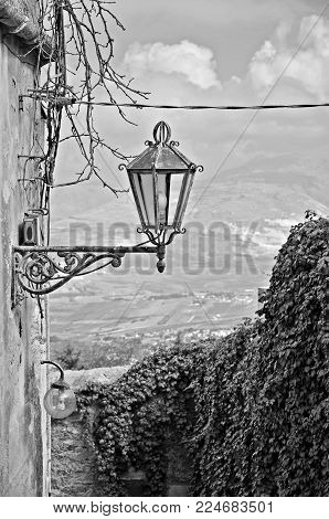 Old Sicilian alley with lamp and hedge in black and white.