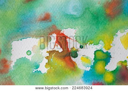 Multicolored watercolor splashes as background. Abstract watercolor texture and background for designers. Multicolor hand painted background with textured paper.