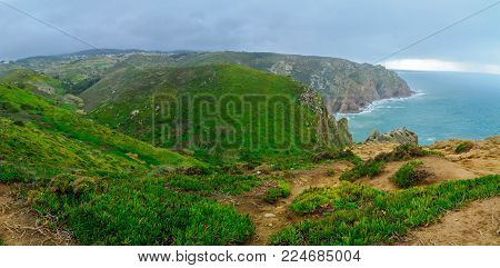 Coastal landscape in Cabo (Cape) da Roca, Portugal. It is the westernmost point in mainland Europe