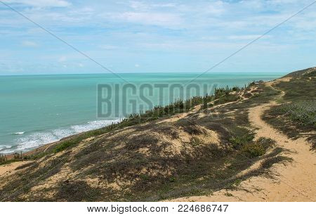 Blue and green ocean in northwest shore from Brazil