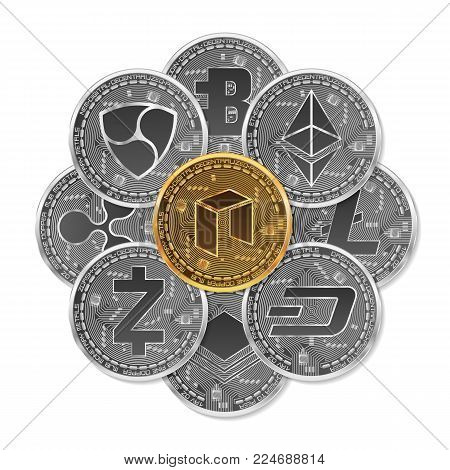 Set of gold and silver crypto currencies with golden neo in front of other crypto currencies as leader isolated on white background. Vector illustration. Use for logos, print products