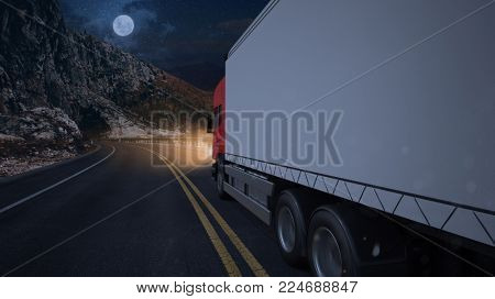 Truck while driving at night on a road in the dark (3D Rendering)