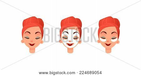 Beautiful women's faces. Girl with purifying mask and eye patches against circles under the eyes. Facial and eye care. Flat vector illustration.