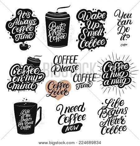 Set Of Hand Drawn Lettering Coffee Quotes Modern Brush Calligraphy Typography Related