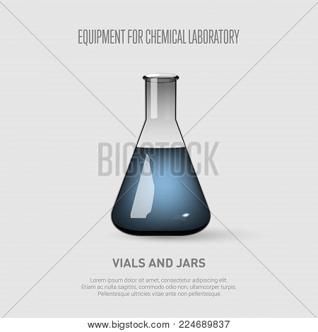 A conical flask with blue liquid. Equipment for chemical laboratory. Transparent glass flask. Vector illustration
