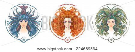 Zodiac sign. Hand drawn portrait of a beautiful woman. Vector illustration of Cancer, Leo, Virgo zodiac sign.