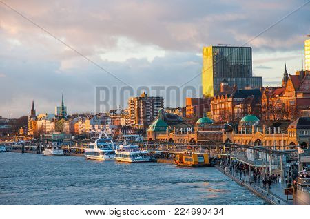 Hamburg Germany - December 16. 2017: Landungsbrucken pier on the waterfront of Hamburg