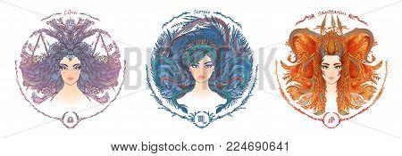 Zodiac sign. Hand drawn portrait of a beautiful woman. Vector illustration of Libra, Scorpio, Sagittarius zodiac sign.
